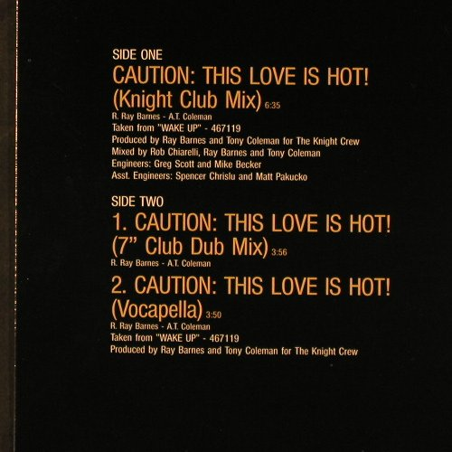 Shalamar: Caution: This Love Is Hot, Epic(656263 6), NL, 1990 - 12inch - C9826 - 2,50 Euro