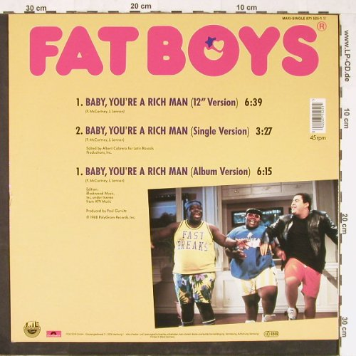 Fat Boys: Baby,You're A Rich Man *3, Polydor(871 525-1), D, 1988 - 12inch - E2301 - 2,50 Euro