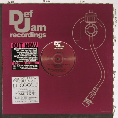 L.L.Cool J: Take It Off*3/Back Where I Belong*3, Def Jam(DEFF 15143-1), US Promo, 2000 - 12inch - E3788 - 3,00 Euro