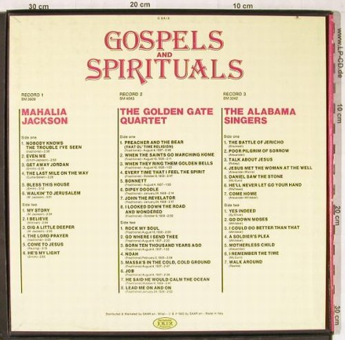 V.A.Gospels and Spirituals: Mahalia Jackson,Golden G.,AlabamaS., Joker(C 84/3), I, 1983 - 3LP - E4967 - 7,50 Euro
