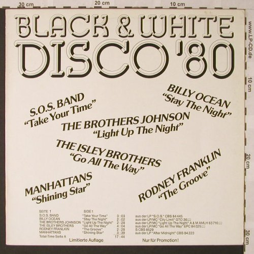 V.A.Black & White Disco'80: SOS Band...Industies,12 Tr., CBS(PROMO 1), NL,Lim.Ed., 1980 - LP - E9561 - 9,00 Euro