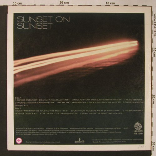 Turner,Tina: Sunset on Sunset, Helicon(HR 1010), PL,  - LP - F3887 - 9,00 Euro