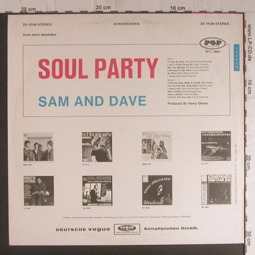 Sam & Dave: Soul Party, POP Schallplatten(ZS 10138), D, 1968 - LP - F5927 - 10,00 Euro