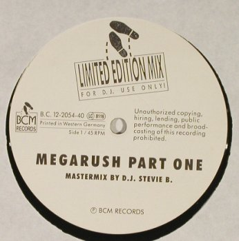 Stevie B.: Megarush Part one & two, BCM(B.C. 12-2054-40), D,  - 12inch - H1628 - 4,00 Euro