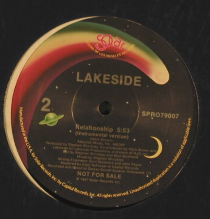 Lakeside: Relationship*2 inst., Solar/Promo, FLC(SPRO79006), US, 1987 - 12inch - H5202 - 4,00 Euro