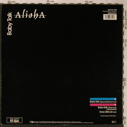 Alisha: Baby Talk *2 / One Little Lie, Metronome(883 724-1 ME), D, 1985 - 12inch - X2226 - 3,00 Euro