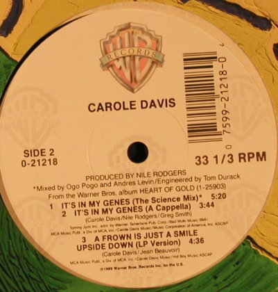 Davis,Carole: It's in my Genes *5+1, LC, WB(0-21218), US, 1990 - 12inch - X2245 - 3,00 Euro