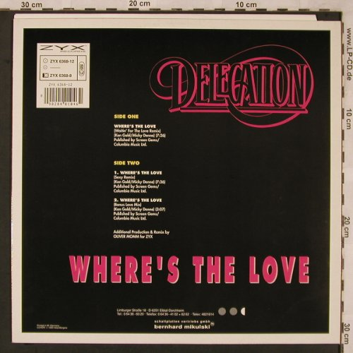 Delegation: Where's The Love,Fresh Mix 90, ZYX(ZYX 6368-12), D, 1990 - 12inch - X2294 - 4,00 Euro