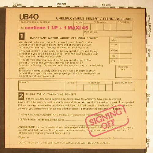 "UB 40: Signing Off, Ariston(UB-1), I, 1980 - LP/12"" - H5642 - 7,50 Euro"