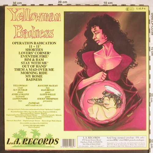 Yellowman: Badness, vg+/vg+, L.A. Records(LALP 6), UK, 1990 - LP - H6821 - 7,50 Euro