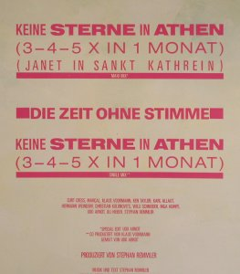 Remmler,Stephan: Keine Sterne In Athen*2+1, Mercury(888 121-1), D, 1986 - 12inch - E292 - 2,00 Euro