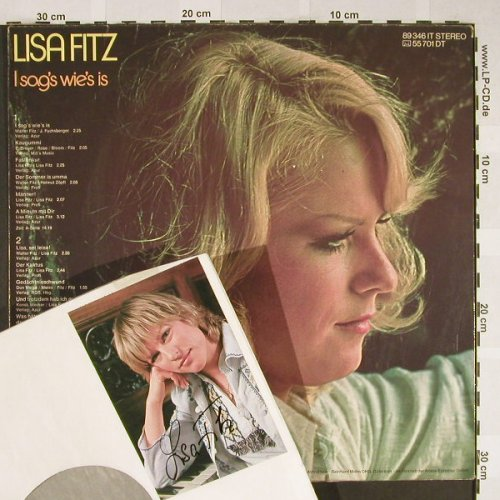 Fitz,Lisa: I sag's wie's is, Autogramm, m rec.(89 346 IT), D, vg-/m-,  - LP - H1982 - 10,00 Euro
