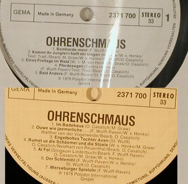 Ougenweide: Ohrenschmaus, Musterplatte No Cover, Polydor(2371 700), D, 1976 - LP - H2393 - 6,00 Euro