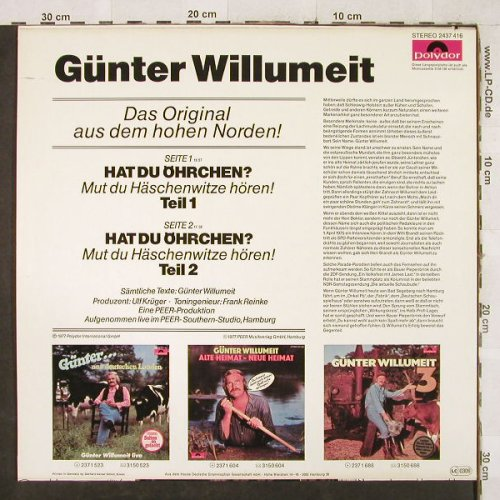 Willumeit,Günter: Hat Du Öhrchen?, Polydor(2437 416), D, 1977 - LP - H3364 - 4,00 Euro