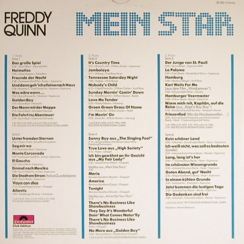 Quinn,Freddy: Mein Star, 2xFoc, Club Edition, Polydor(38 086 5), D,  - 3LP - H8946 - 9,00 Euro