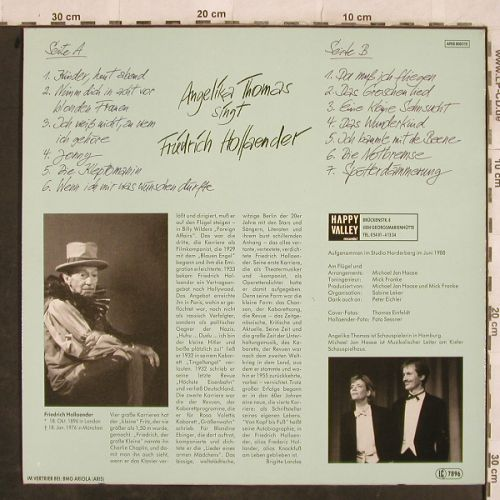 Thomas,Angelika: singt Friedrich Hollaender, Happy Valley/BMG(ARIS 808015), D, 1988 - LP - H9820 - 9,00 Euro