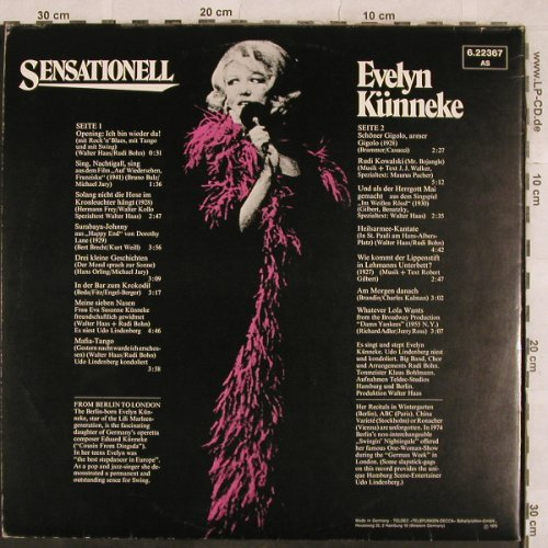 Künneke,Evelyn: Sensationell,Foc, Telefunken(6.22367 AS), D, 1975 - LP - X261 - 7,50 Euro