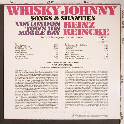 Reincke,Heinz: Whiskey Johnny, Songs+Chanson, Telefunken(6.42502), D,  - LP - X4509 - 7,50 Euro