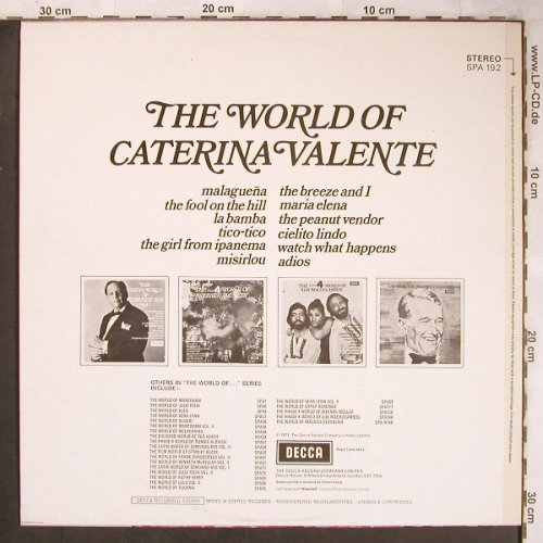 Valente,Caterina: The World Of, Decca(SPA 192), UK, 1971 - LP - X4971 - 9,00 Euro