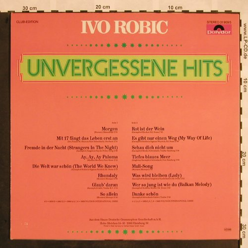 Robic,Ivo: Unvergessene Hits, Club Edition, Polydor(31 909 5), D,  - LP - X943 - 5,00 Euro