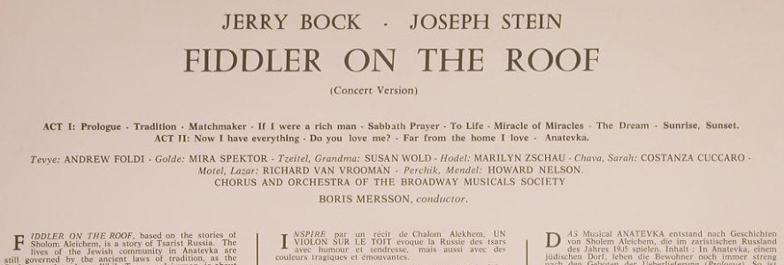 Fiddler on the Roof: Andrew Foldi, Mira Spektor..., Concert Hall(SMS 2767), ,  - LP - F6094 - 5,00 Euro