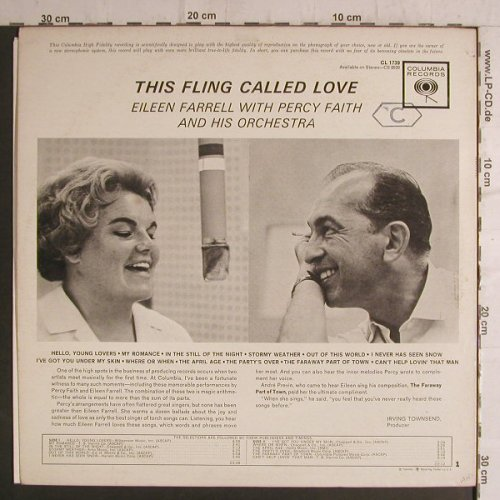 Farrell,Eileen with Percy Faith: This Fling Called Love, Columbia(CL 1739), US,  - LP - F6927 - 9,00 Euro