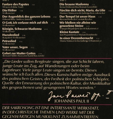 V.A.Lieder des Papstes: Johannes Paul II in Polen, Foc, Crystal(056 CRY 45 725), D, 1979 - LP - F8939 - 5,50 Euro