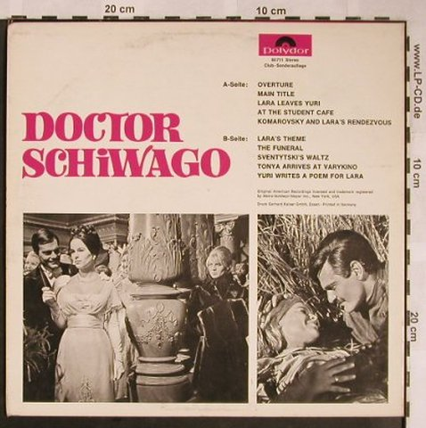 Doctor Schiwago: Comp. & Cond. By Maurice Jarre, DSC, Polydor(P 60 711), D, 1966 - 10inch - X1498 - 5,00 Euro