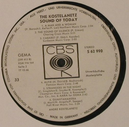 Kostelanetz,Andre: The Kostelanetz Sound of Today, CBS, Muster(S 62990), D,NoCover,  - LP - F2887 - 9,00 Euro