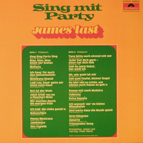 Last,James: Sing Mit Party, Club-Ed., Polydor(28 694-8), D, 1973 - LP - F4511 - 5,00 Euro