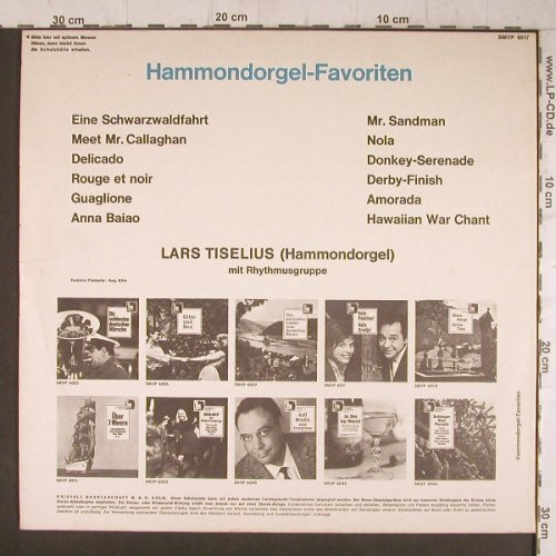Tiselius,Lars mit Rhythmusgruppe: Hammondorgel-Favoriten, vg-/m-, Volksplatte(SMVP 6017), D,playable,  - LP - F6520 - 3,00 Euro