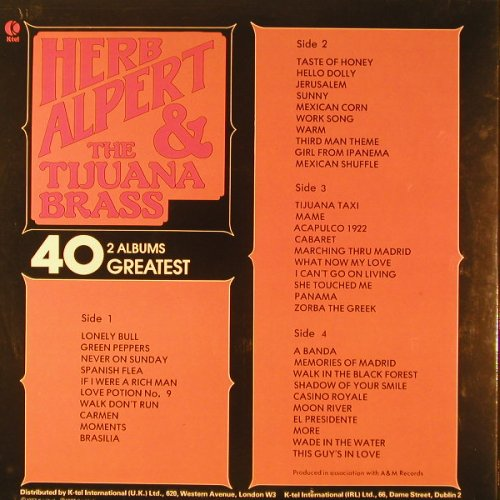 Alpert,Herb & Tijuana Brass: 40 Greatest, Foc, K-tel(NE 1005), UK, 1977 - 2LP - F6688 - 7,50 Euro