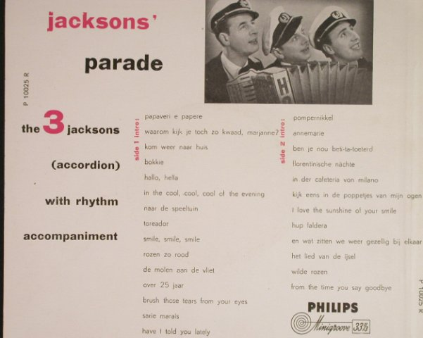 3.Jacksons: Parade(Accordion with...), vg+/vg+, Philips(P 10025 R), NL,  - 10inch - H142 - 5,00 Euro