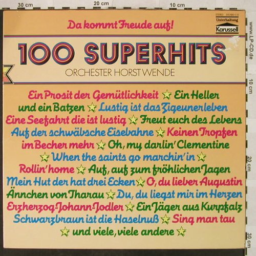 Wende,Horst - Orchester: 100 Superhits, m /vg+, Karussell(815 480-4), D, Ri,  - LP - H5017 - 4,00 Euro