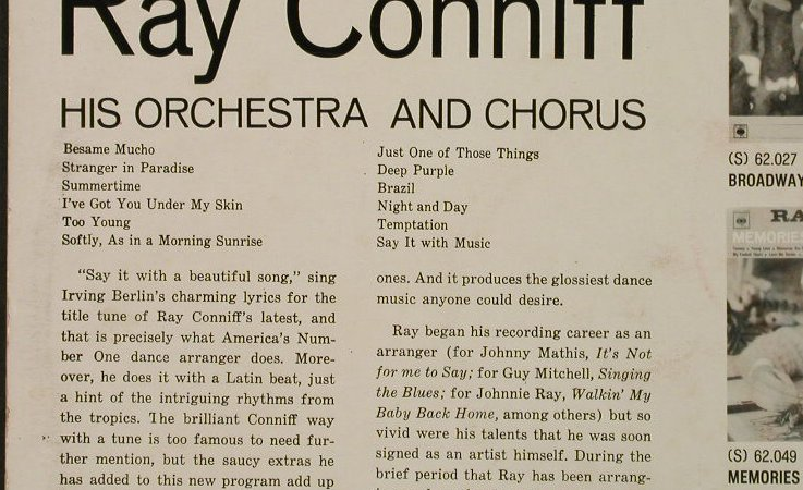 Conniff,Ray & Orch.: Say It With Music-A Touch of Latin, CBS(S 62046), I,  - LP - H5217 - 5,00 Euro