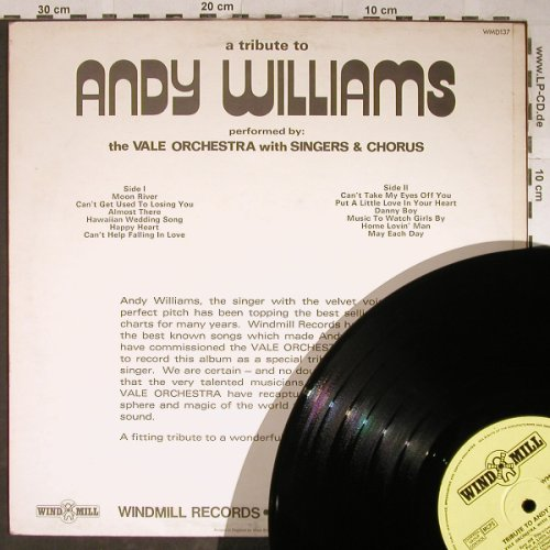 Vale Orchestra  w. Singers & Chorus: A Tribute to Andy Williams, Wind Mill(WMD 137), UK, 1972 - LP - H5598 - 5,00 Euro