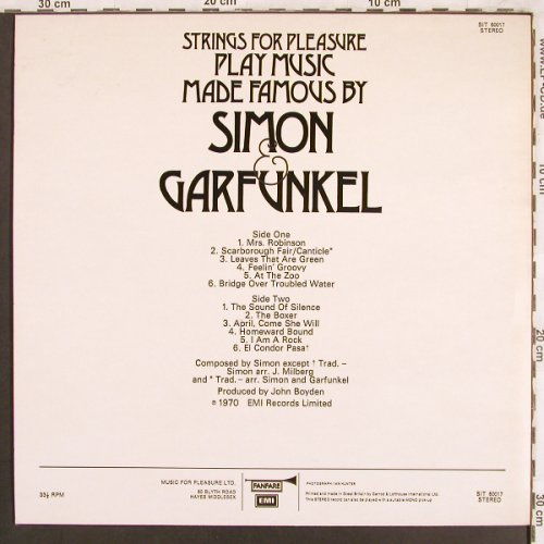 Strings for Pleasure: Play Music made...Simon & Garfunkel, Fanfare(SIT 60017), UK, 1970 - LP - X3789 - 6,00 Euro